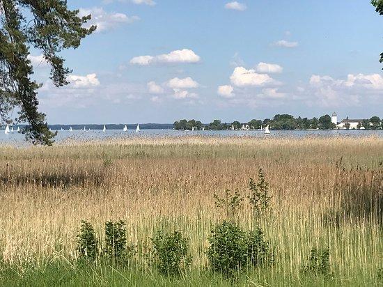 Herreninsel, Jerman: vom Pferdewagen aus:Blick auf den Chiemsee und die Fraueninsel