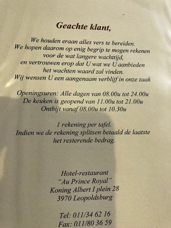 Leopoldsburg, Belgia: Funny quote, split the bill and the last one pays the remainder
