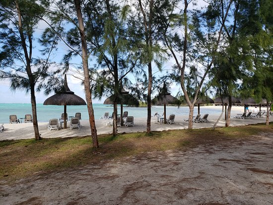 View of the private beach on Ile Aux Cerfs.