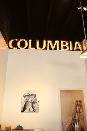 Needle and Grain: Beautiful lighted Columbia sign