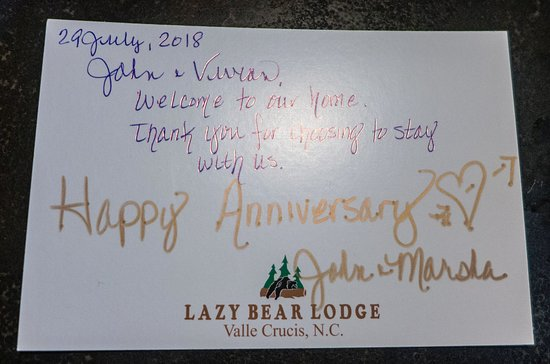 Valle Crucis, NC: Lazy Bear Lodge - anniversary wishes