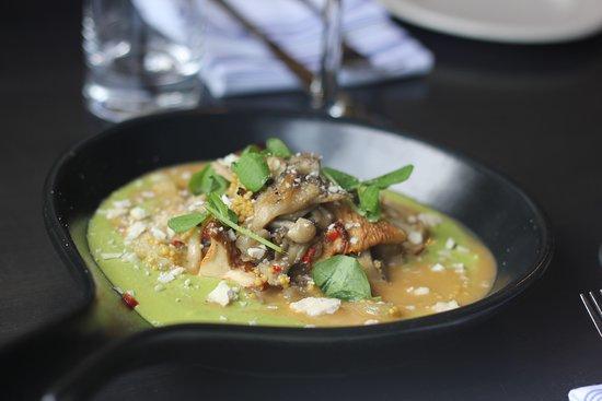 4 Bells: Roasted Mushrooms, Asparagus Puree, Serrano Pepper