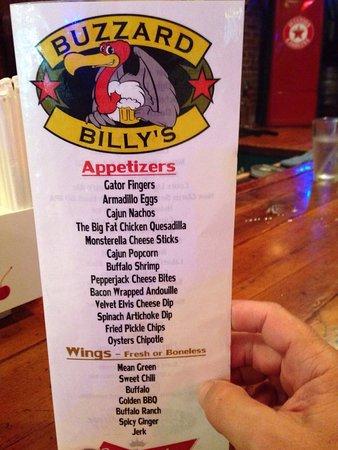 Buzzard Billy's Flying Carp Cafe: Buzzard Billy's Small Menu