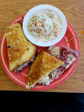 Palm City, FL: Corned Beef Reuben (w/ grilled rye, swiss cheese, Russian dressing, and sauerkraut( with cole sl