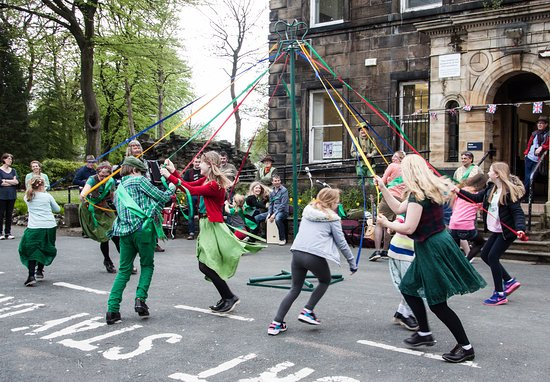 Littleborough, UK: Maypole Dancing outside Hare Hill House