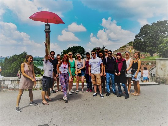Belgrade Free Walking Tour: With Jelena you will maybe get inspiration to feel like Mary Poppins with our red umbrella :)