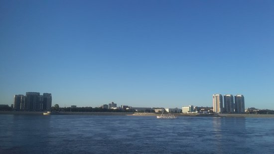 Heihe, China: View of Russia from the island.