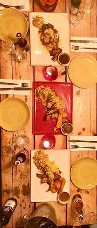 Surf and Turf Roast Dinner - giant cray fish peppered steak veg rice mac and cheese, mango salsa