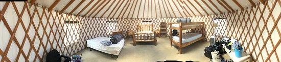 Larkspur, CO: Panoramic photo of inside Yurt #2