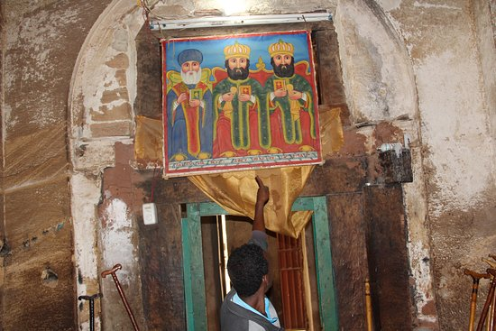 Wukro, Ethiopia: An Ancient painting of the holy trinity of the church