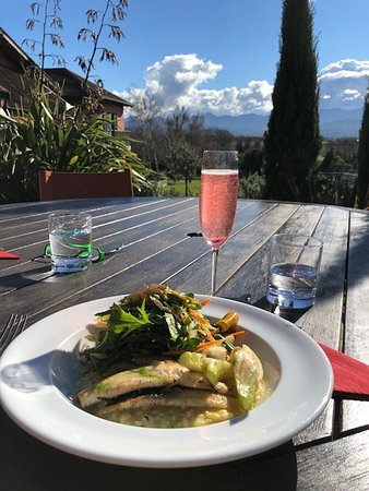 Highfield TerraVin Cellar door and Vineyard Restaurant: Gurnard with risotto and salad and a kir royale