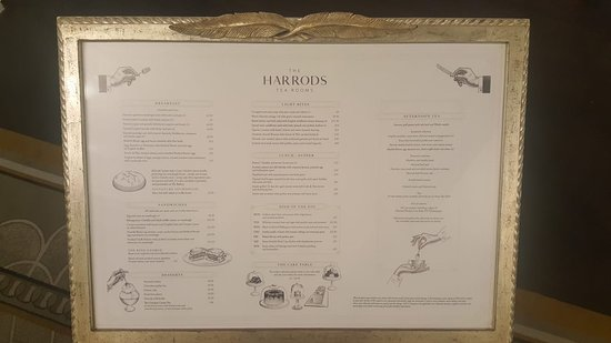 The Menu at the Harrods Tea Room - Picture of The Harrods