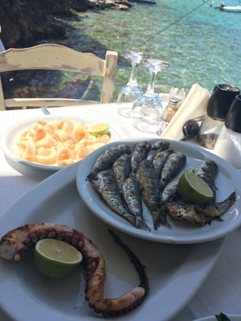 Takis To Limeni: grilled octopus, grilled sardines & fried squid