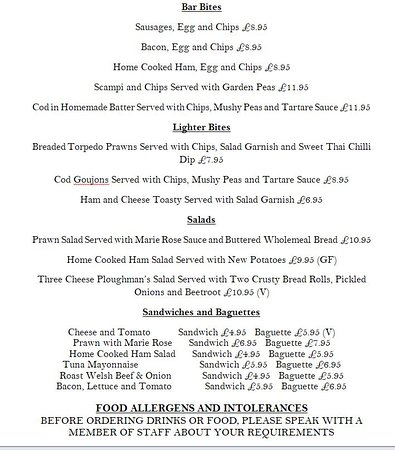 Garndolbenmaen, UK: Lunch Menu Aug 2018