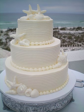 Three Tear Wedding Cakes.3 Tier Buttercream Wedding Cake And White Chocolate Seashells