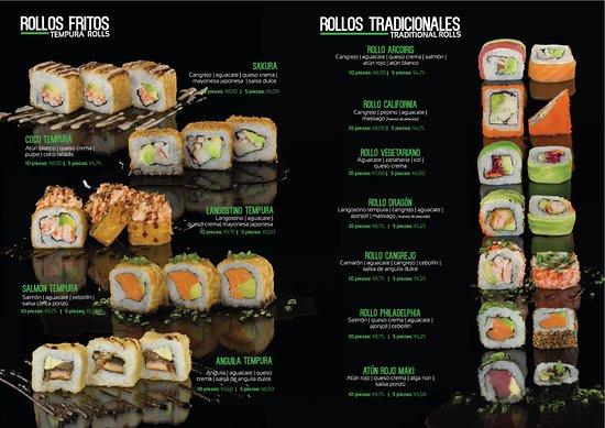 Sakura Sushi: Rollos fritos(Tempura Rolls) / Rollos Tradicionales(Traditional Rolls)