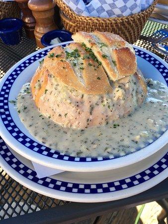 Duke's Chowder House: Clam Chowder in a Bread Bowl