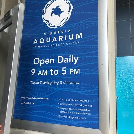 Virginia Aquarium & Marine Science Center: Operating hours/prices Aug 2018