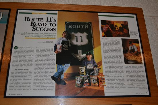 Mount Jackson, VA: Articles about Route 11 Potato Chip Factory on their wall