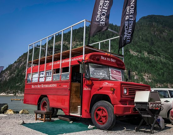 Squamish, Canada: Sea To Sky Kiteboarding School Clubhouse Red School Bus at The Spit