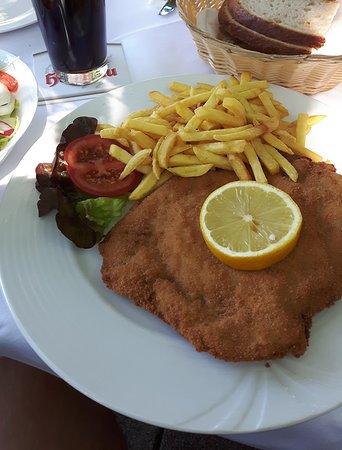 Filderstadt, ألمانيا: Mittagstisch: gefülltes Schnitzel mit Schafskäse und Beilagensalat (ca. 13,50€)