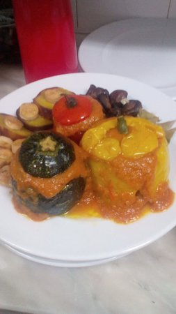 Bordeira, Portugal: Stuffed pepper/courgette