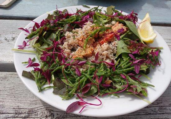 Trebarwith Strand, UK: Crab salad