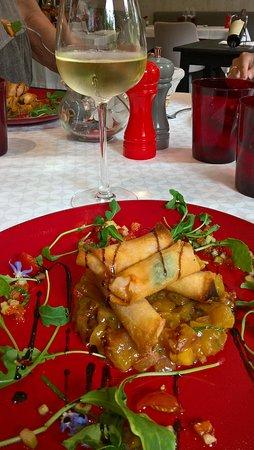 Le Val-d'Ajol, Frankreich: Bonbon croustillant de langoustine Basilic et peches