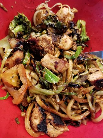 Burned stir fry bowl.