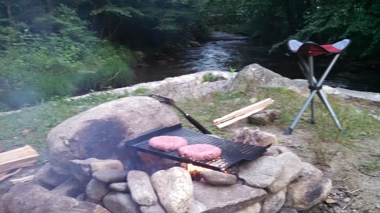 Private tent site right on the edge of the fork in the river