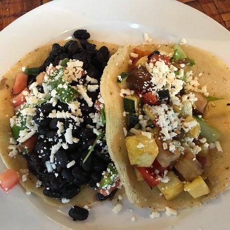 Grill Caliente: Fire roasted veggie taco; black bean taco