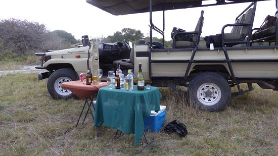 Tembe Elephant Park, South Africa: The drinks table at sundown in the bush