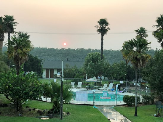 Tulare, Califórnia: Welcoming garden area with pool 🏊 and a relaxing ambiance