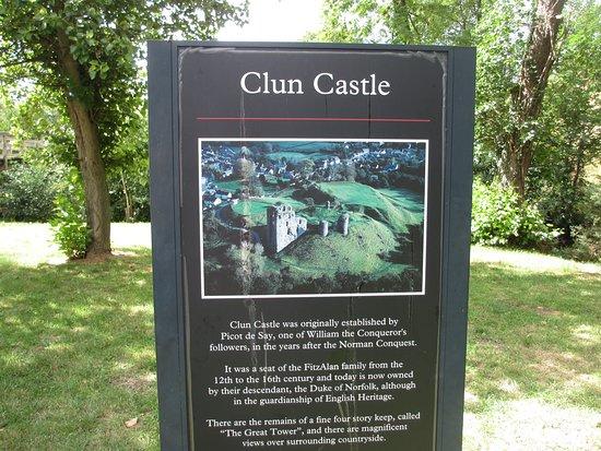 Information board Clun Castle, Shropshire