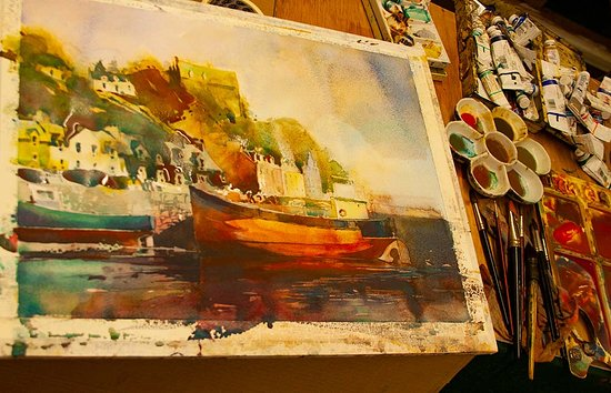 Tobermory, UK: Watercolour in progress