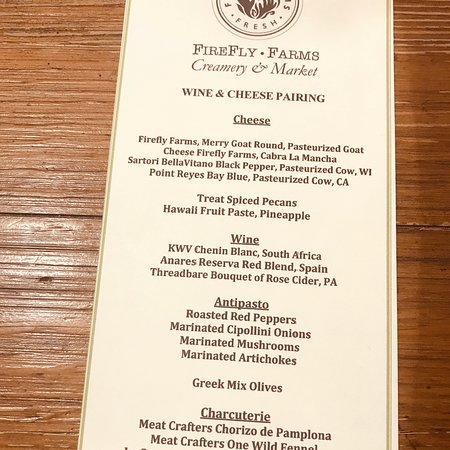 Accident, Мэриленд: The pairings menu