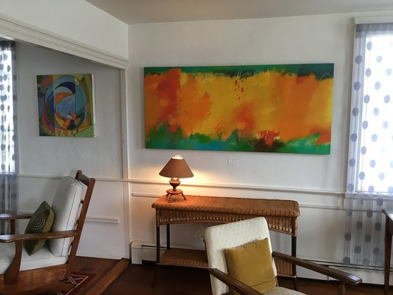 """Harwich Port, MA:  A glimpse of """"Visual Jazz"""" exhibit at Cross Rip Gallery. Artist Kate Nelson on right, Artist Su"""