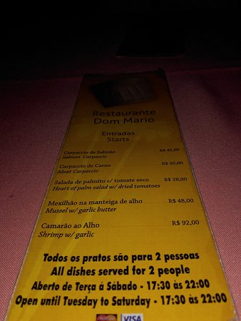 Cardapio Picture Of Restaurante Dom Mario Vila Do Abraao