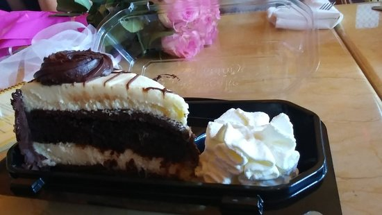 The Cheesecake Factory: Cheesecake with chocolate cake and fudge...whip cream on the side
