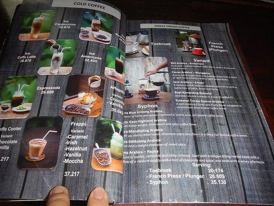 Menu Picture Of Java Dancer Coffee Roaster Malang Tripadvisor