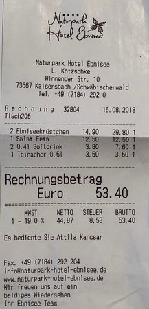 Ebnisee, เยอรมนี: Rechnung