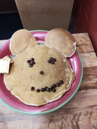 Toledo, OR: Come in an ask for the mickey mouse pancake.