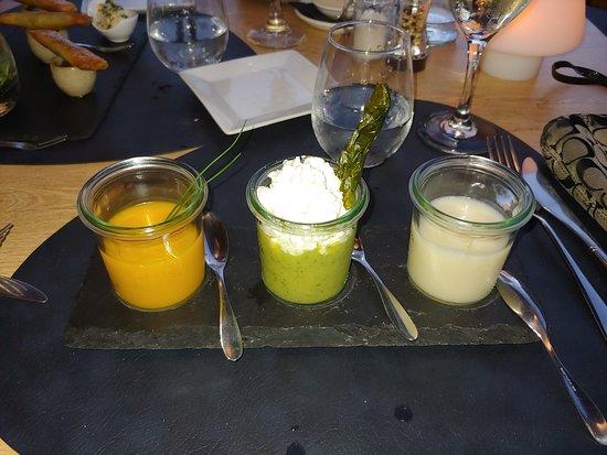 Le Cottage: Cold Soup Trio: Pumpkin, Asparagus, Cauliflower