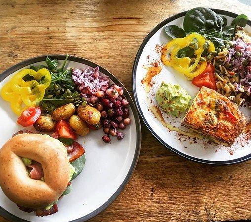 Keynsham, UK: GF bagel / Frittata and salad