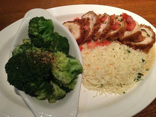 Pasadena, MD: Chicken Chesapeake (sautéed spinach, prosciutto, jumbo lump crab), Dijon sauce, basmati rice, br