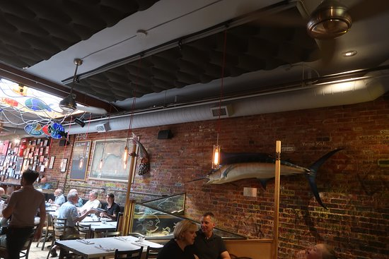 Jax Fish House & Oyster Bar: The stuffed marlin is super- camp