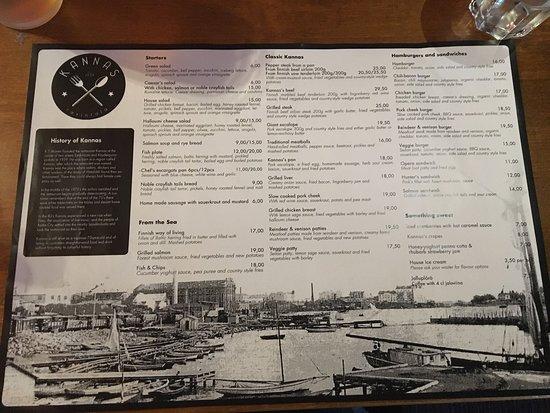 Restaurant Kannas: Menù