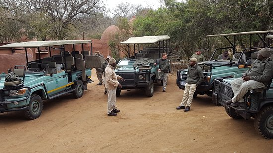 Lukimbi Safari Lodge: Game vehicles gathered ready to depart on afternoon drive