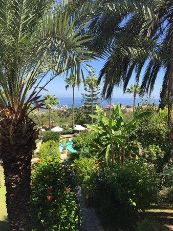 Vue sur les jardins, la piscine et la mer.