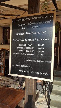 La Brigue, France: Combinazioni menù disponibili